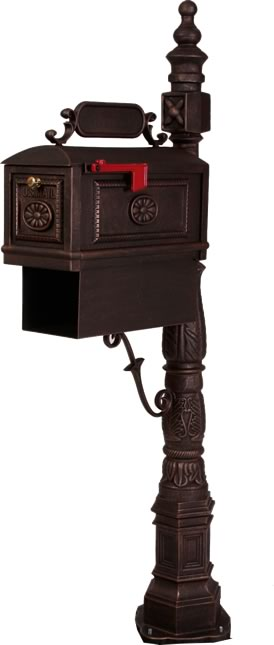 BBPB-R Traditional Decorative Cast Aluminum Curbside Mailbox with Paper Box  - Bronze