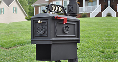 Classic Victorian reproduction cast iron style mailbox BBPB-B with newspaper box