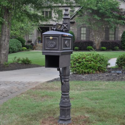 The rural mailboxes and that we offer are made from cast aluminum, and the hardware is stainless steel and brass. These metals do not rust because of their composition, but we do not take any chances. At the end of the process, we apply a special DuPont finish that shields the metals from the elements.Shop Now!