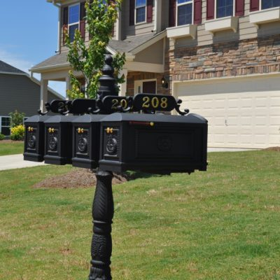 Each mailbox on our quadruple decorative classic style measures 8.37 x 10 x 18.62 inches and ships with both a mailbox flag and a slide alert for every mailbox. Our mailboxes are hand crafted with cast aluminum and brass materials for long lasting performance.Shop Now!